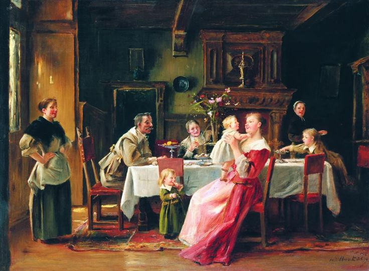 Munkácsy Mihály: Ebéd után -- Anyai boldogság---1892