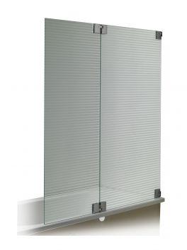 Ecran bain double douche Pure  En verre transparent, gris, rayé ou gris rayé  Dimensions: 145 cm x 150 cm