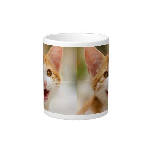 CustomizCute smiling kitten funny cat meoe Product Jumbo #Mug Zazzle photographed by Katho Menden