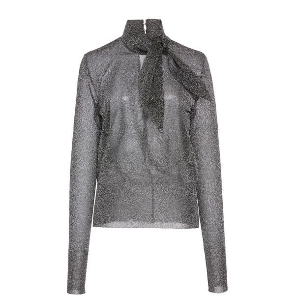 Isabel Marant     Adil Collar Tie Jumper (7.603.310 VND) ❤ liked on Polyvore featuring tops, sweaters, silver, jumpers sweaters, collared sweater, silver sweater, collar top and slim fit sweaters