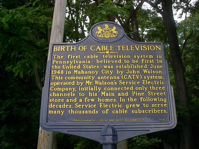 The next time you switch on your favorite #cable TV show, think Pennsylvania. In June 1948, the first cable television system in PA, believed to be the first in the U.S., was established in Mahanoy City, Pennsylvania. https://www.facebook.com/PATrailsofHistory/posts/10153074328817669