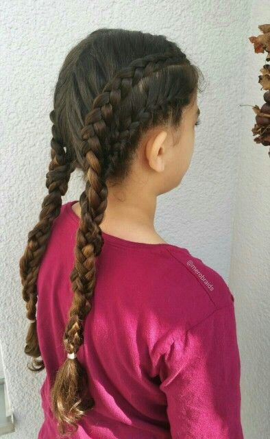 Lace dutchbraid and french braid into pigtails