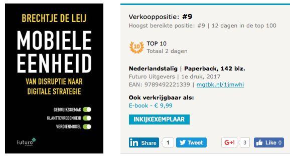 Top, ook vandaag staat het boek 'Mobiele Eenheid' van Brechtje de Leij op nummer 9 in de Bestseller Top100 van Managementboek, gaaf! #mobieleeenheid #brechtjedeleij #mgtboeknl #futurouitgevers