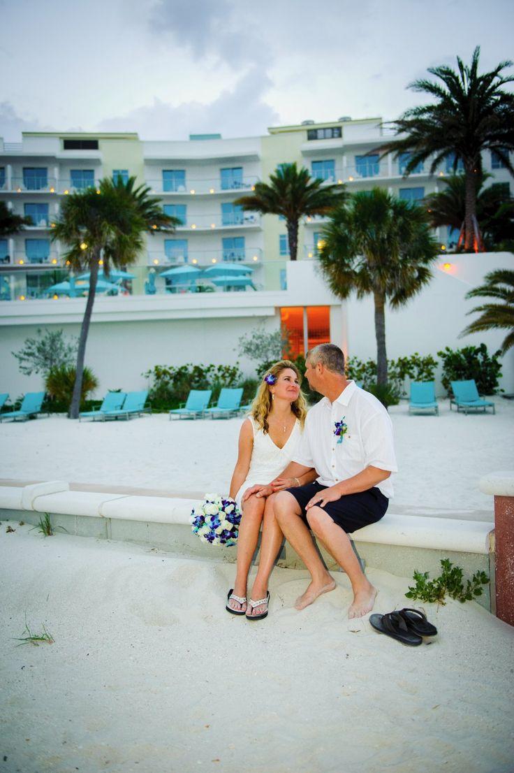 Alison & Randy after the ceremony in front of Treasure Island Beach Resort #floridabeachweddings #simpleweddingsflorida