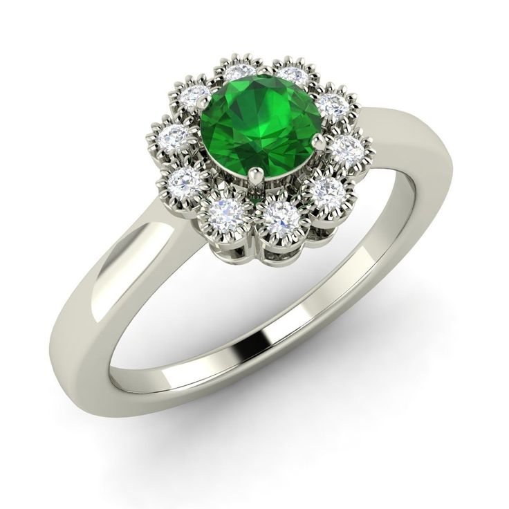 0.54 Ct Natural Emerald Engagement Ring with SI Diamond in Solid 14k White Gold - Diamond