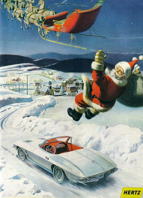 Vintage Christmas Ad ~ Hertz Rental Cars