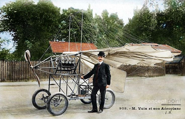Traian Vuia, a Romanian pioneer in World aviation also an inventor. First flight with a self-propelled aircraft, heavier than air.