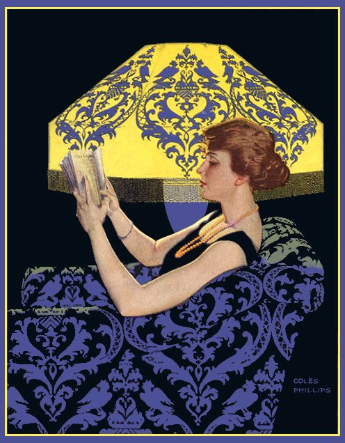 Good Housekeeping, October 1915 'Reading lamp' cover by Coles Phillips (American, 1880–1927). Artist and illustrator known for his signature use of negative space with his 'fadeaway girls'