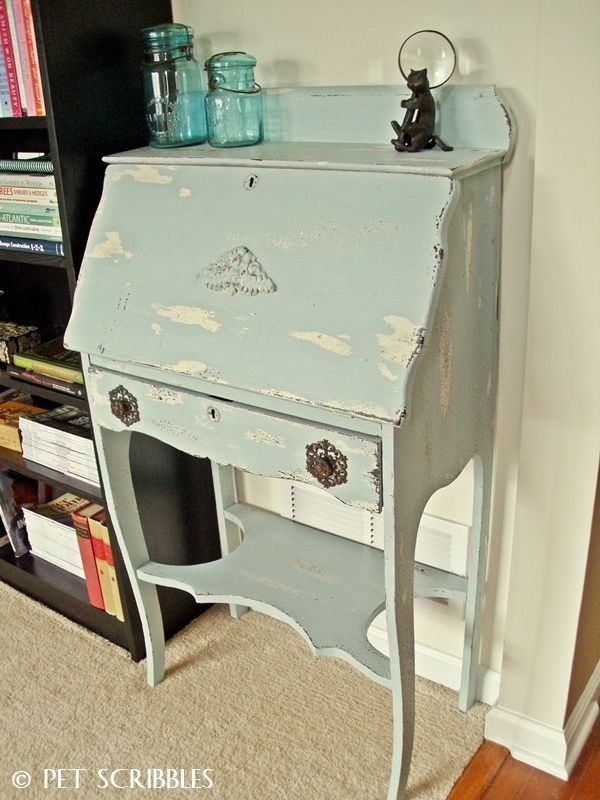 Chippy Paint Antique Secretary Desk makeover using Chalky Finish paints and petroleum jelly!