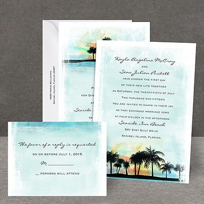 tropical watercolors all in one invitation weddings With all in one beach wedding invitations