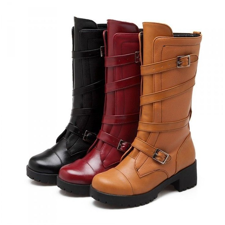 Fashion Women Mid Calf Leather Chunky Riding Boots Ladies Winter Heel Boots