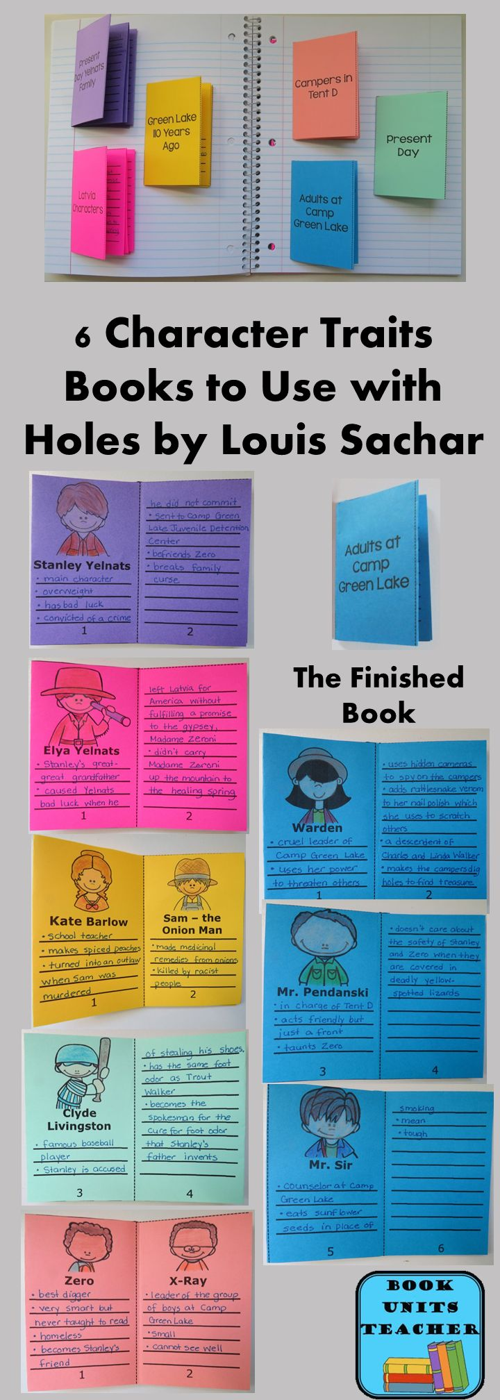 17 best ideas about louis sachar holes book finished books contain 6 pages where students can list character traits for the main characters this is a valuable tool for a book such as holes