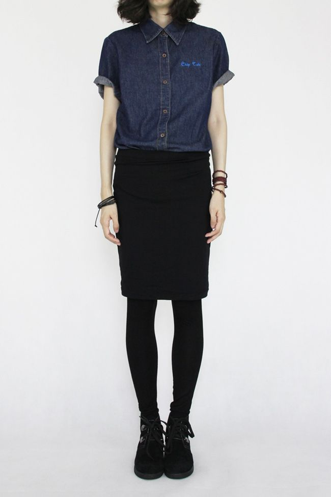 Black skirt with a chambray/denim shirt