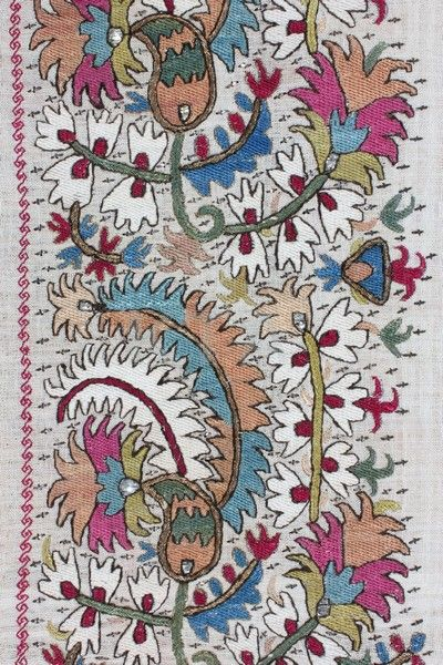 Floral embroidery on antique textile