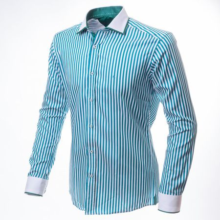 Ettore Бирюзовая рубашка в полоску