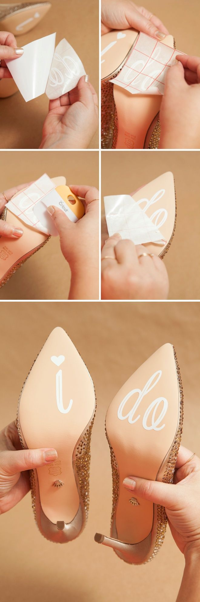 DIY Idea -- Learn how to make custom wedding shoe stickers. This will deferentially crack a few smiles within the memorable moment.