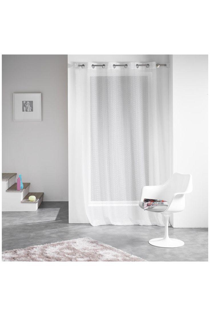 Voilage à oeillets plumetis blanc, 140 x 260 cm - En polyester