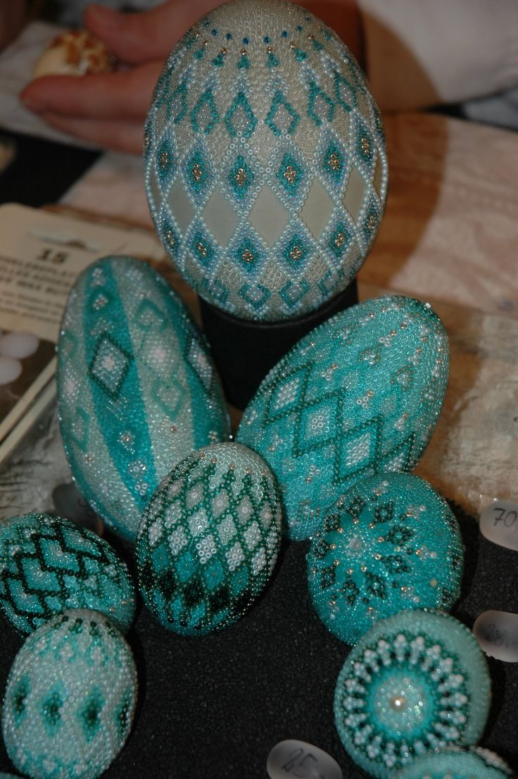 Beaded eggs at the Easter Market in Germany