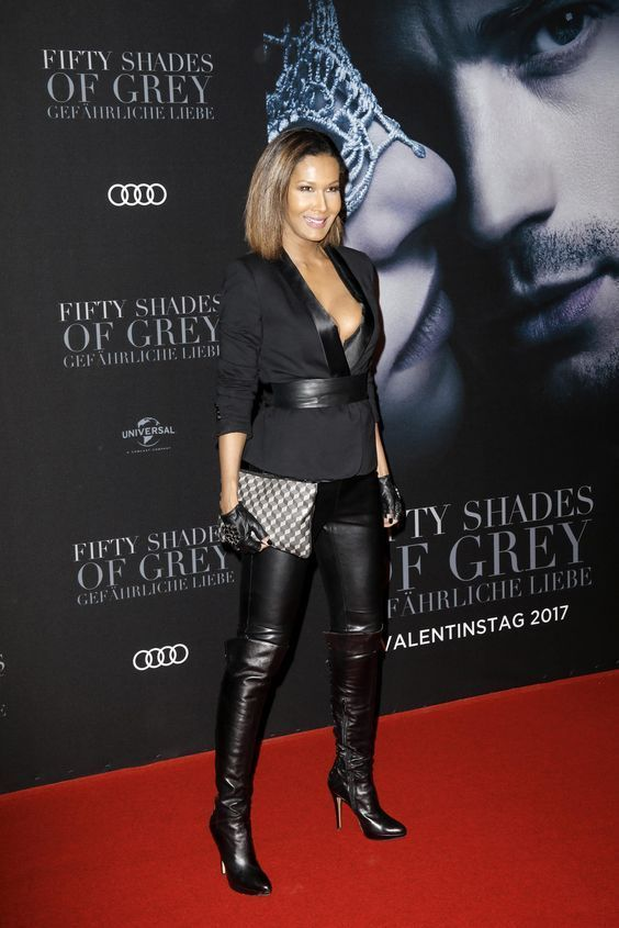 7cd4eb4f3effc Leather leggings and OTK boots red carpet