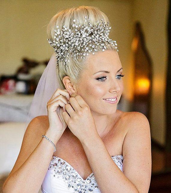 Vid de novia ~ banda nupcial frente ~ casco de cristal de Swarovski ~ Rhinestone de Swarovski ~ novia Vintage ~ casco cielo