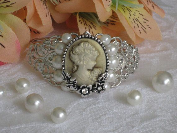 Cameo Bracelet Silver Cuff Pearl Cameo Jewelry by RalstonOriginals, $16.00