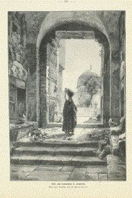 """Thor to Temple Square in Jerusalem """"(Door to the Temple in Jerusalem Plaza)  Wood engraving made after the painting by G. Bauernfeind ca 1885."""