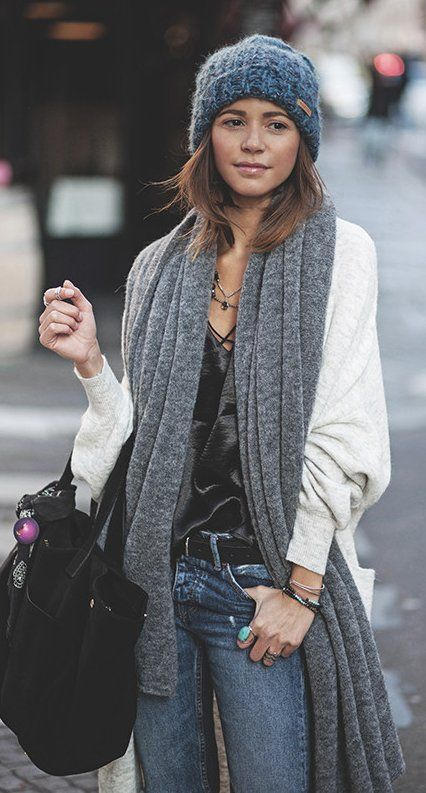 #winter #fashion /  Grey Beanie / Grey Scarf / White Cardigan / Black Tote Bag