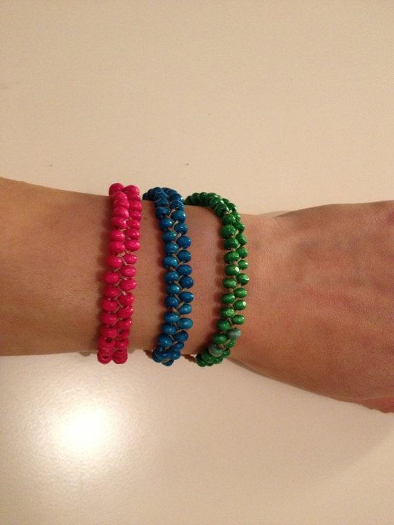 Handmade braided bead bracelet by HappyDonkey on Etsy, €6.00