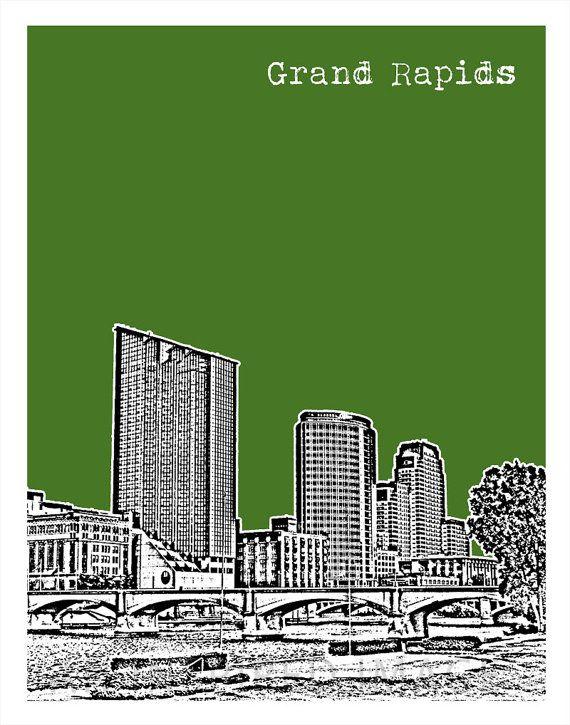 Grand Rapids Michigan Skyline Poster City Art by AnInspiredImage