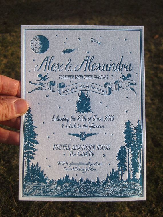 stunning wes anderson inspired letterpress wedding invitations