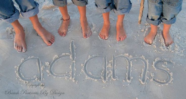family pics name in sand at beach | Beach family portraits - and Florida vacation photo ideas