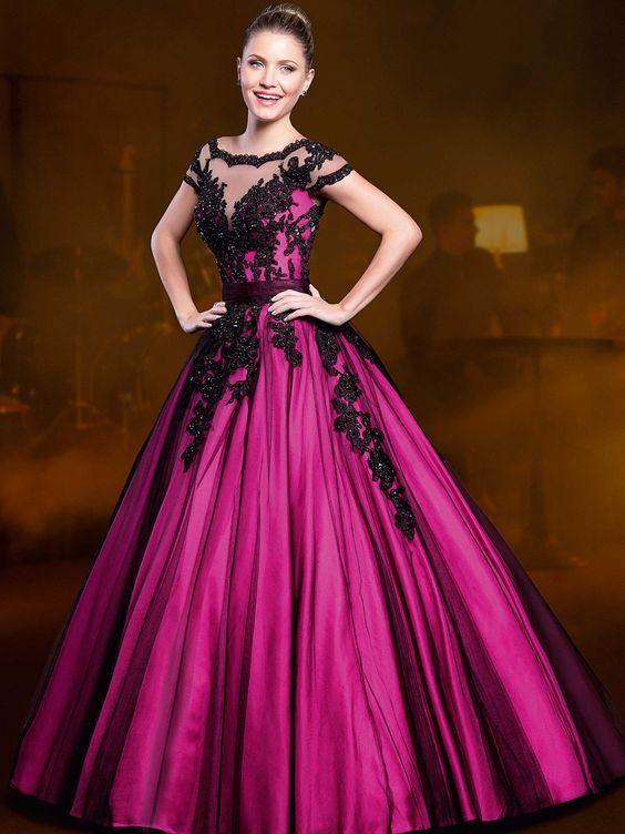 vestidos-longos-de-15-anos-rosa-com-preto