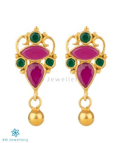 The Asmita Silver Ear Studs Red Green Jewellery Online Temple