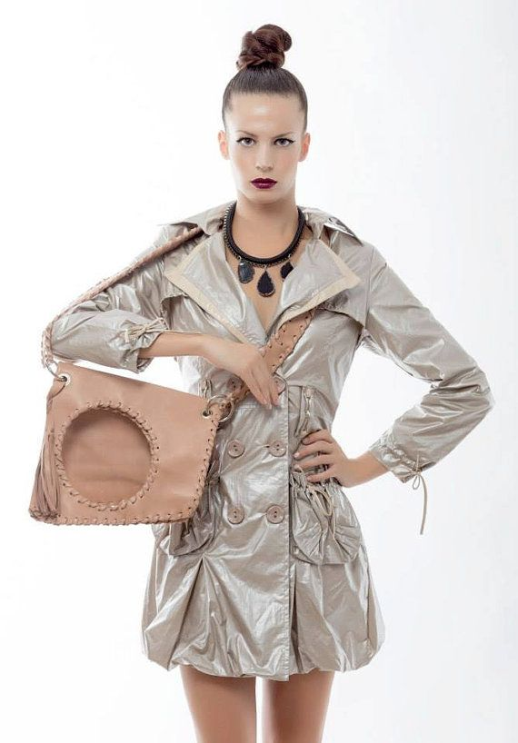 Beige Leather Bag  Handmade Geometric Messenger by EleannaKatsira, €156.00