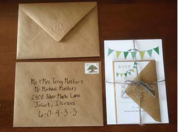 Wedding invitation made out of kraft paper