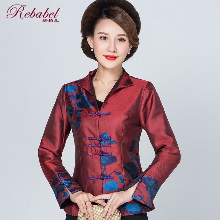 Attractive Print Open Neck Chinese Jacket - Red - Chinese Jackets & Coats - Women