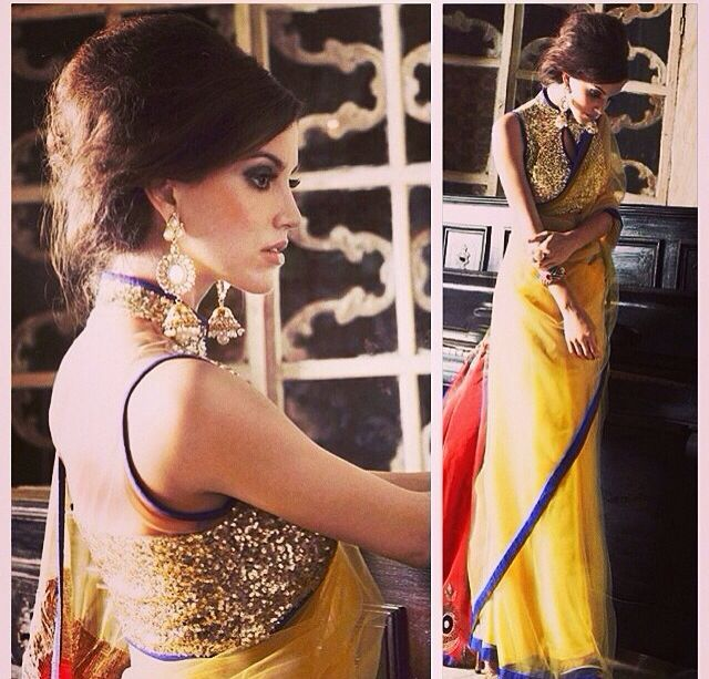 Stunning Yellow #Saree With Sequin #Blouse.