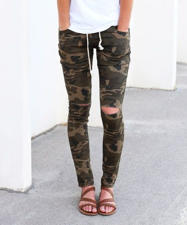 Look what I found on #zulily! Camo Distressed Drawstring Joggers by So Perla #zulilyfinds