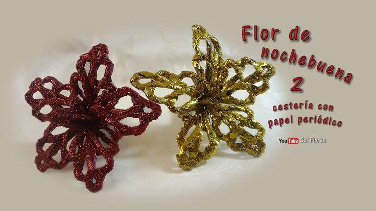 Flor de nochebuena 2 cestería con papel periódico – Flower of Christmas ...
