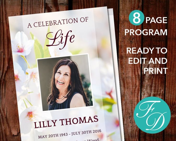 51 best Pink Funeral Program Templates images on Pinterest - funeral service program template word