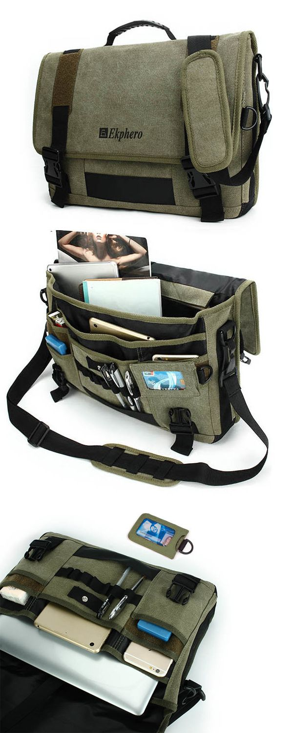 $29.64 Men Canvas Multifunctional Big Capacity  Crossbody Bag Handbag