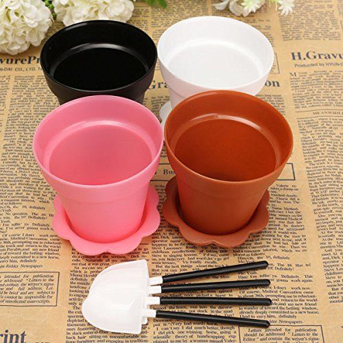 4Pcs Plastic Flower Pot Shape Muffin Cake Pan Baking Cup With Spoon Lid *** Details can be found by clicking on the image.