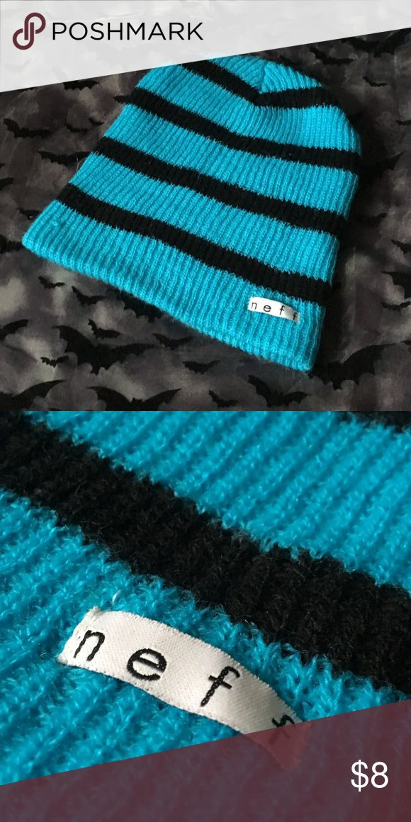Striped Neff Beanie 1 Piece Color(s): Black, Blue Type: Hat (beanie) Brand: Neff Length: N/A  Material(s): Acrylic Fiber Charms/Beads: None Quality: New without tag Other Significant Details: Striped  Disclaimer: All measurements are APPROXIMATE and to the nearest inch. All flaws of the item(s) is disclosed. I will not accept any lowball offers. Tags: skate skater skating skateboard skateboarding cool zumiez unisex warm winter fun element D.C. Volcom vans baker circa famous birdhouse…