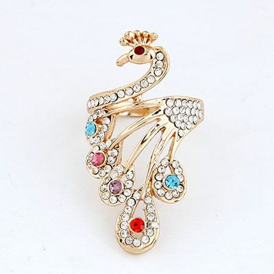 Ultra Multicolor Blink Peacock Design Alloy Korean Rings