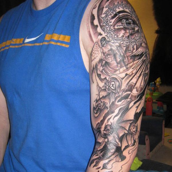 Half sleeve tattoos for men angels versus demons 26 for Demon half sleeve tattoos