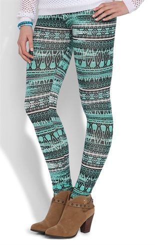 Deb Shops Blurred #Mint #Aztec #Leggings $10.00 ~~~ I would wear that with black boots, not brown
