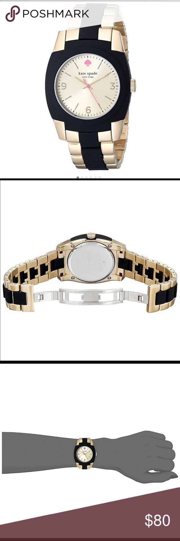 Kate Spade Skyline Gold Plated Watch! EUC Kate Spade Skyline Gold Plated Stainless Steel Black Watch!  Fits small to medium wrist. I do not have the box anymore.  Gold-plated and black polycarbonate watch featuring tonneau-shape case and round dial with spade logo at 12 o'clock 36 mm gold-plated stainless steel case with mineral dial window Japanese quartz movement with analog display Triple-row bracelet with deployant-clasp closure Water resistant to 10 m (33 ft) kate spade Accessories…