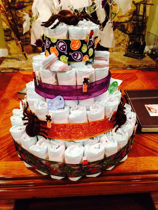 halloween themed diaper cake for baby shower pinteres