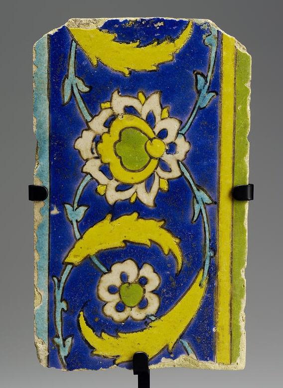 A Safavid cuerda seca border pottery Tile   Persia, 17th Century