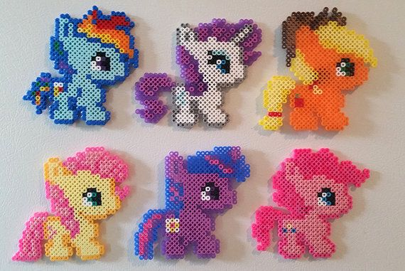 My Little Pony Perler Bead Magnets by GeekyDecorAndMore